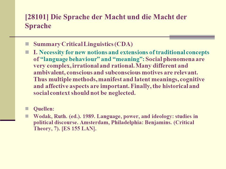 [28101] Die Sprache der Macht und die Macht der Sprache